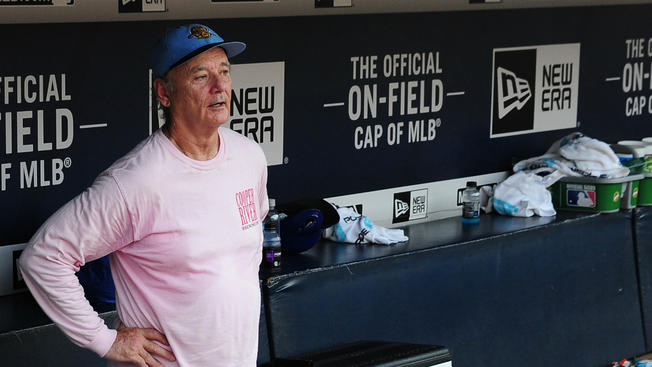 Bill Murray in the Cubs dugout on June 11 // Getty Images
